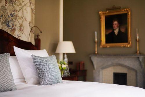 Hotel bedroom at Adare Manor in Ireland.
