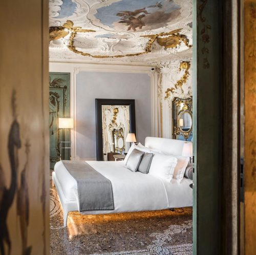 Hotel bed at the Aman Venice.