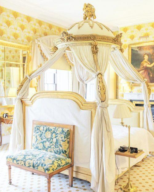 Bed at Ballyfin Demesne hotel in Ireland.