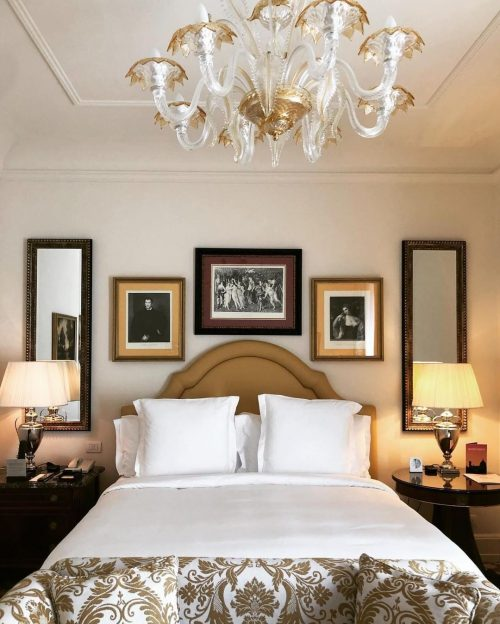 Hotel bed at Four Seasons Florence.