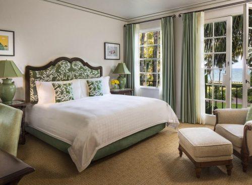 Green hotel bed at Four Seasons Santa Barbara, The Biltmore