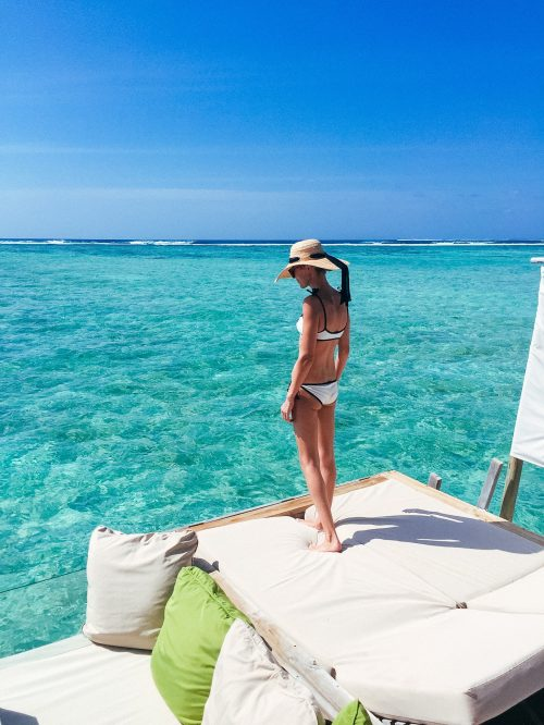 Honeymoon style in the Maldives.