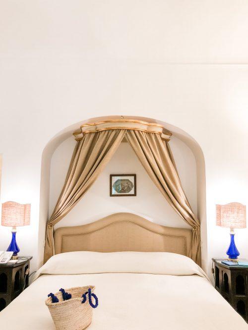 Bed at Le Sirenuse hotel in Positano.