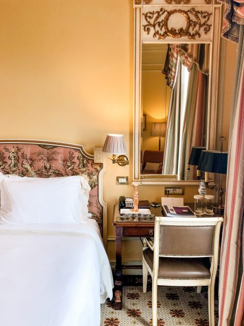 Hotel bed in the Grand Bretagne in Athens.