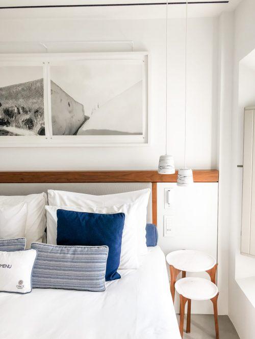 Hotel bed at Grace Hotel in Santorini.