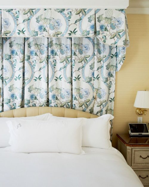 Hotel bed at The Peninsula Beverly Hills.